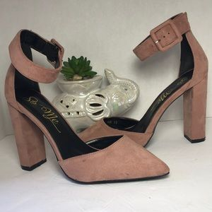 SO ME  Sexy Blush Suede Ankle Strap Heels